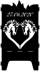 Beispielmotiv 2 Pferdeköpfe als Herz mit Datum